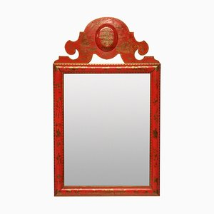 William & Mary Style Scarlet Japanned Mirror