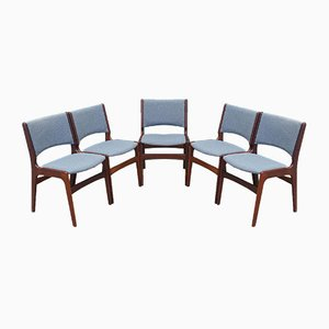 Rosewood Chairs from Henning Kjaernulf, Denmark, 1970s, Set of 5