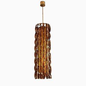 Lámpara italiana de cristal de Murano y latón dorado, años 60
