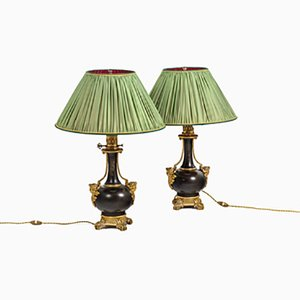 Sheet Metal and Gold Bronze Lamps, 1880s, Set of 2