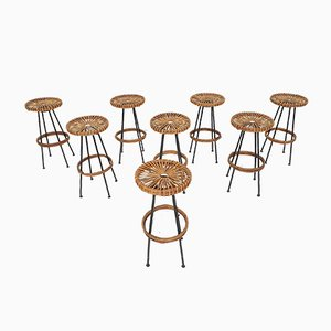 Rattan Barstools from Rohe Noordwolde, the Netherlands, 1950s, Set of 8