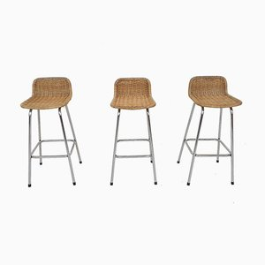 Rattan and Metal Barstools from Rohe Noordwolde, the Netherlands 1950s, Set of 3