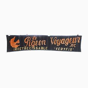 Bandeau Publicitaire Pigeon Voyageur en Toile Noire et Rouge, 1950s