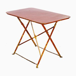 French Folding Red Metal Outdoor Table, 1950s