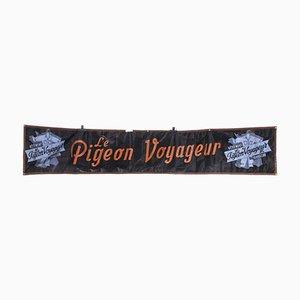 Black & Blue Canvas Advertising Pigeon Voyageur Banner, 1950s