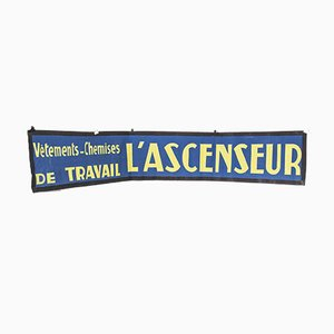 Blue & Yellow Canvas Advertising L'Ascenseur Banner, 1950s