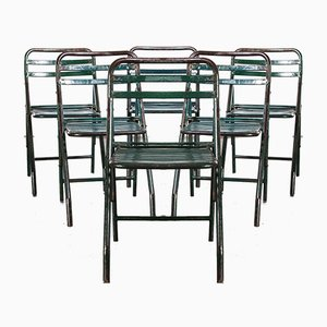 French Army Green Metal Folding Chairs, 1960s, Set of 6