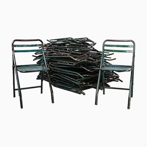 French Army Green Metal Folding Chair, 1960s