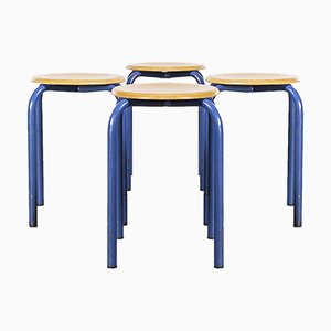 French Stacking School Stools, 1960s, Set of 4