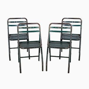 French Army Green Metal Folding Chairs, 1960s, Set of 4