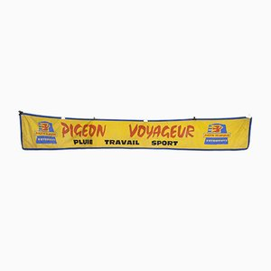 Yellow Canvas Advertising Pigeon Voyageur Banner, 1950s