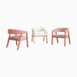 Oslo Armchairs, Arctic Fox Throw & Pink by Pepe Albargues, Set of 3