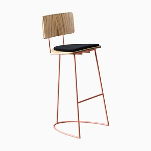 Boomerang Stool with Backrest & Copper Finishings by Cardeoli