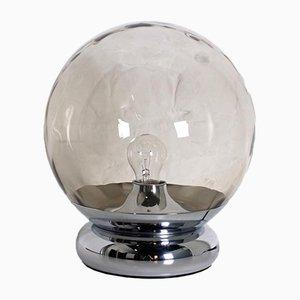 Kugelförmige Space-Age Lampe aus bernsteinfarbenem Glas