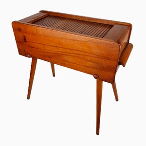 Danish Sewing Box Cabinet with Roll Top, 1950s