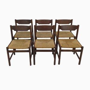 Große Mid-Century Wenge Esszimmerstühle, 1960er, 6er Set