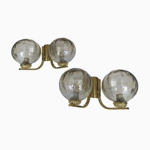 Lampade da parete doppie in ottone e vetro, anni '60