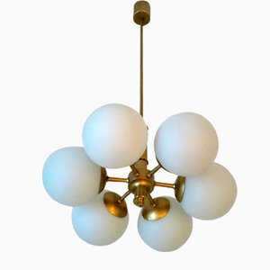 Mid-Century Brass and Glass Chandelier with 6 Radiating Globes, 1970s