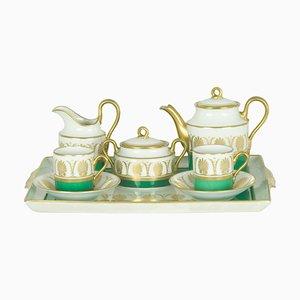 White, Green & Golden Ceramic Coffee Service Attributed to Gio Ponti for Richard Ginori / Pittoria di Doccia, 1960s