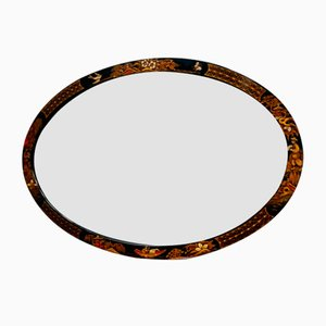 Edwardian Oval Chinoiserie Bevelled Wall Mirror