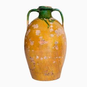 Antique Rustic Glazed Terracotta Vase, Puglia, Italy, 20th Century
