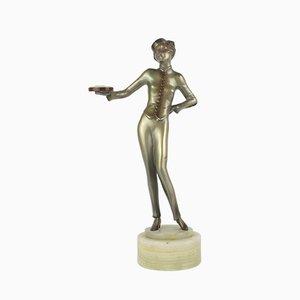 Figura Bellhop Art Déco viennese in bronzo di Lorenzl, 1930
