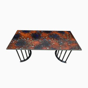 Side Table or Console in Metal and Enamelled Lava