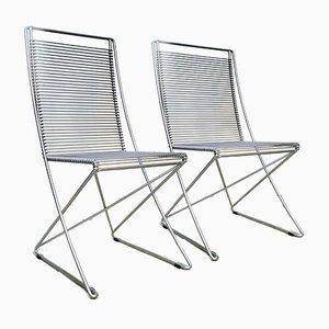 Deutsche Kreuzschwinger Stahldraht Stühle von Till Behrens für Schlubach, 1983, 2er Set