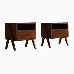 Model Pj-050501 Bedside Tables by Pierre Jeanneret, 1950s, Set of 2