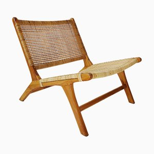 Mid-Century Style Brazilian Modern Lounge Chair in Cane and Solid Wood
