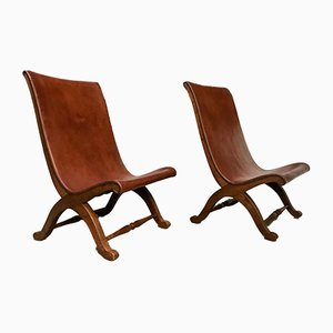 Spanish High-Back Leather Slipper Chairs by Pierre Lottier, 1950s, Set of 2