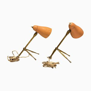 Pink Bronze Table Lamps by Giuseppe Ostuni for Oluce, 1950s, Set of 2