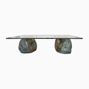 French Bronze Rock Coffee Table, 1970s