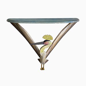 French Bird Console Table with Painted Wood by Gérard Rigot, 1980s