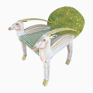 French Antelope Armchair with Painted Wood by Gérard Rigot, 1980s