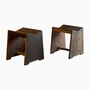 Model Pj-Si-68-a Sewing Stools by Pierre Jeanneret, 1950s, Set of 2