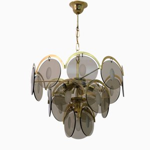 Mid-Century Modern Chandelier in Amber Glass and Brass from Vistosi, 1960s