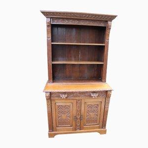 Large Carved Oak Bookcase, 1900s