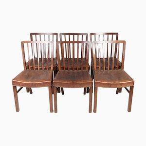 Esszimmerstühle aus Mahagoni von Fritz Hansen, 1940er, 6er Set