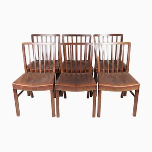 Mahogany Dining Room Chairs by Fritz Hansen, 1940s, Set of 6
