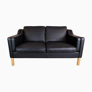Schwarzes 2-Sitzer Ledersofa mit Beinen aus Eiche von Stouby Furniture