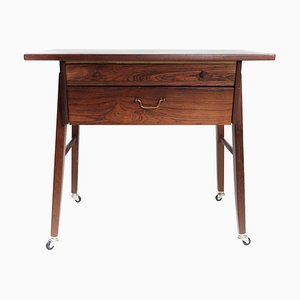 Danish Rosewood Side Table on Wheels, 1960s