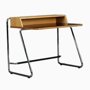 Thonet S1200 Eichenholz Schreibtisch mit schwarzer Tischplatte