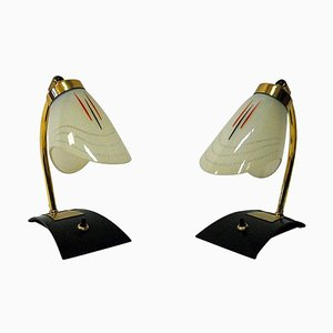 Scandinavian Glass and Brass Table & Wall Lamps, 1950s, Set of 2