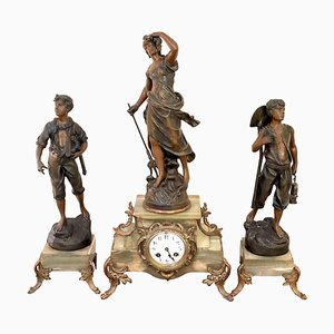 Antique 19th Century French Spelter and Onyx Clock Garniture, Set of 3