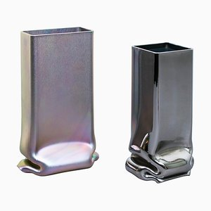 Zinc & Chrome Plated Pressure Vases by Tim Teven, Set of 2