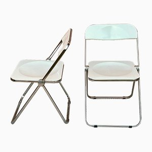 Italian White Plias Folding Chairs by Giancarlo Piretti for Castelli, 1960s, Set of 2