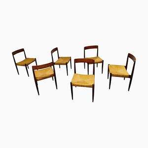 Vintage Rosewood and Wicker Dining Chairs by Alfred Hendrickx, 1960s, Set of 6