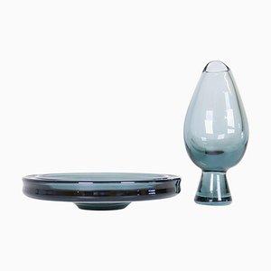 Mid-Century Art Glass Vessels by Vicke Lindstrand for Kosta, Sweden, Set of 2
