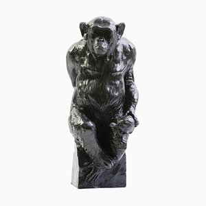 Bronze Chimpanzee Named Socrate and His Turtle by Damien Colcombet, France